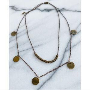 ME TO WE Brass Gold Medallion Layered Necklace